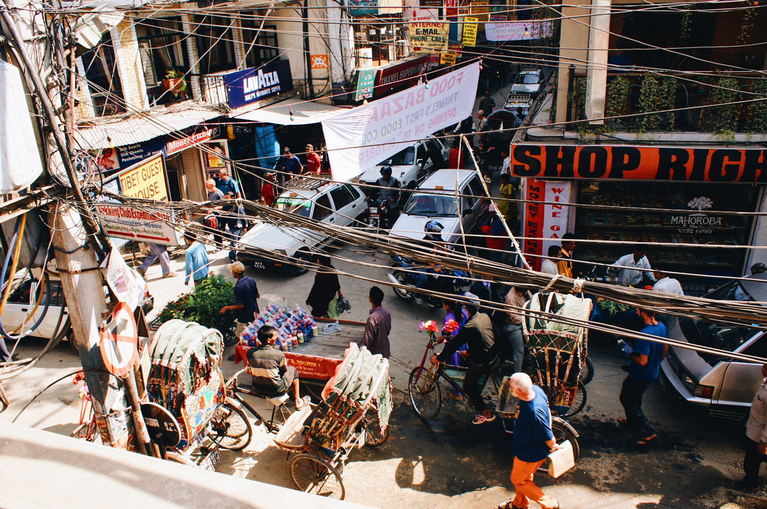 Busy narrow streets in the old town of Kathmandu | Gay Travel Nepal Photo Story Himalayas © Coupleofmen.com