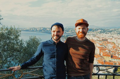 two gay guys View of the beach and City of Nice from the castle hill Gay Couple City Weekend Nice © CoupleofMen.com