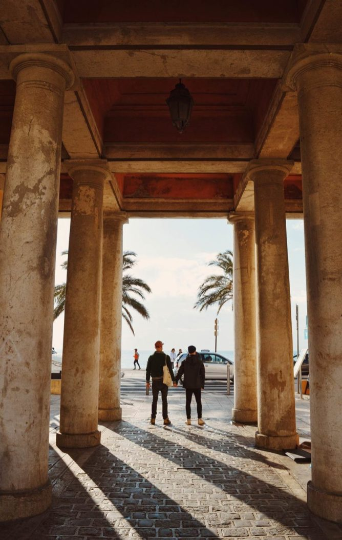 Gay Couple Travel France City Weekend Nice View from the flower market over the Promenade des Anglais - Gay Couple City Weekend Nice © CoupleofMen.com