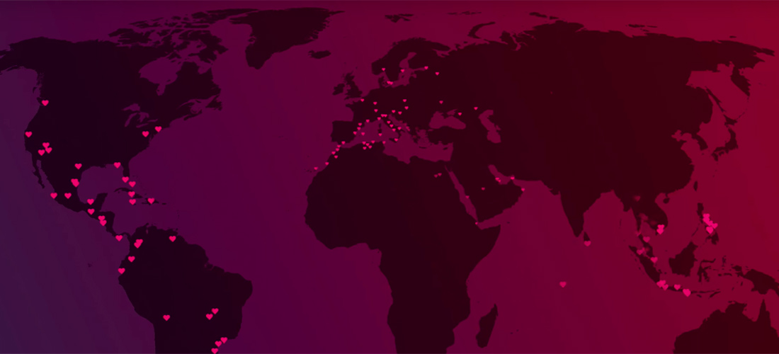 "Map of all messages for ""Love Beyond Borders"" project by PlanetRomeo"