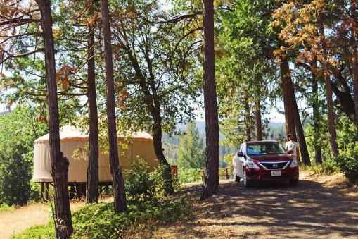 The Yurt comes with a private parking spot right next to our accommodation © Coupleofmen.com