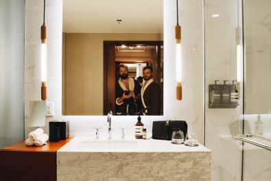 Illuminated Bathroom Selfie | The Douglas Vancouver Hotel gay-friendly © CoupleofMen.com