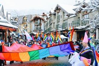 Colorful first Pride Event of the Canadian LGBTQ+ Pride Season | Whistler Pride 2018 Gay Ski Week © Coupleofmen.com