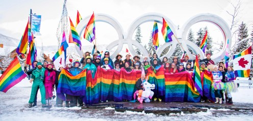 Closing picture after the pride march at the Olympic Rings of Whistler | Whistler Pride 2018 Gay Ski Week © Coupleofmen.com