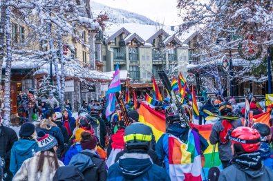 Turning Resort Town Whistler in rainbow colors   Whistler Pride 2018 Gay Ski Week © Coupleofmen.com