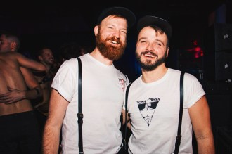 Dressed in our Tom of Finland shirts for Furrocious Military Ball | Whistler Pride 2018 Gay Ski Week © Darnell Collins