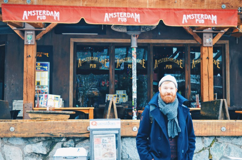 Daan feels a bit like home with the Amsterdam Pub in Whistler | Whistler Pride 2018 Gay Ski Week © Coupleofmen.com