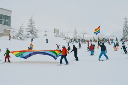 Starting with the Rainbow Parade on the Ski Hills | Whistler Pride 2018 Gay Ski Week © Coupleofmen.com