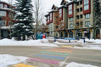 Whistler Village has two Rainbow Crosswalks | Whistler Pride 2018 Gay Ski Week © Coupleofmen.com