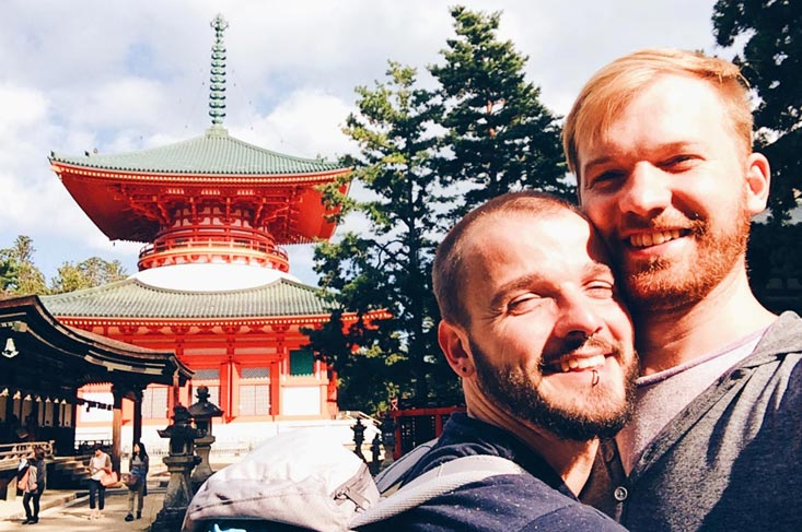 Gay Travel Blogger Karl & Daan in Japan | Koyasan temples Japanese Buddhism Mount Kõya © CoupleofMen.com
