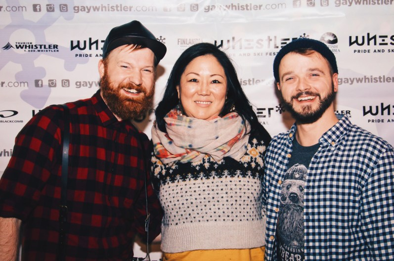 Couple of Men and Margaret Cho after show meet up | Whistler Pride 2018 Gay Ski Week © Darnell Collins