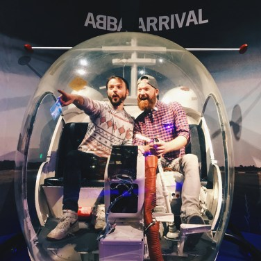 Couple of Men practising the ABBA Arrival on the famous helicopter | Gay Travel Tips for EuroPride 2018 Stockholm © Coupleofmen.com