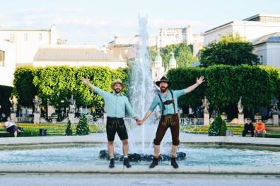"Gay Städtetrip Salzburg Four-Elements-Fountain at Mirabell Gardens ""Vier-Elemente-Brunnen"" or ""Big Spout"" | Travel Salzburg Gay Couple City Trip © coupleofmen.com"