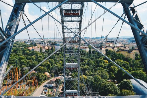 Gay Wien Designhotel Le Méridien Spectacular View over Vienna from the world-famous Ferris Wheel Wiener Prater | Gay-friendly Design Hotel Le Méridien Vienna © Coupleofmen.com