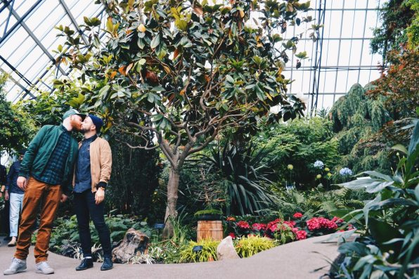 Gay kiss at Muttart Conservatory | Road Trip Edmonton Northern Alberta © Coupleofmen.com