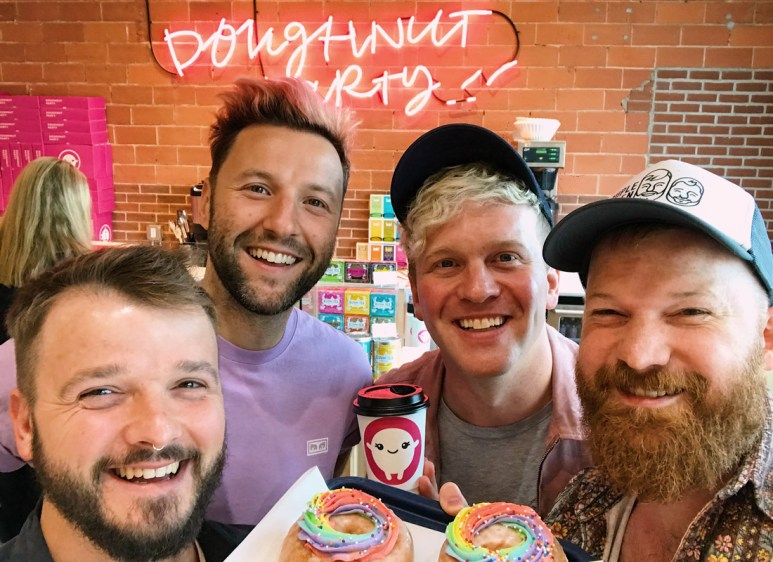Gay Pride Parade Edmonton Canada Gay Couple Selfie with the Doughnut Party Boys | Gay Edmonton Pride Festival © Coupleofmen.com