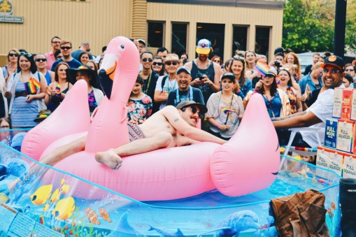 Take a swim with a oink Flamingo | Gay Edmonton Pride Festival © Coupleofmen.com