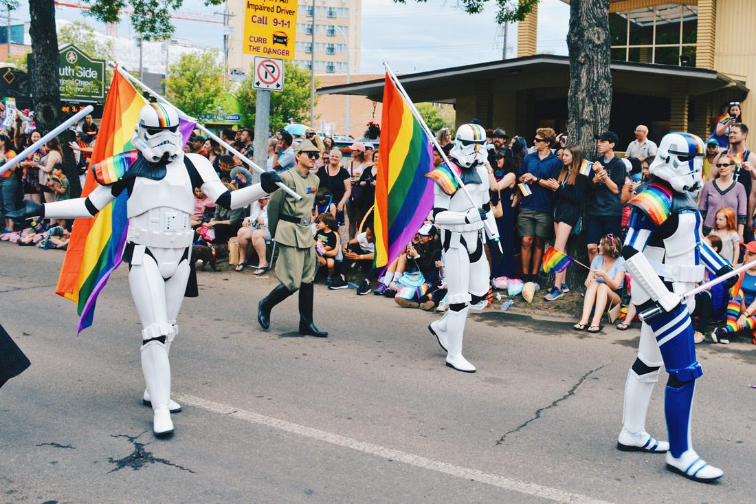 Star Wars Storm Troopers with Rainbow Flags | Gay Edmonton Pride Festival © Coupleofmen.com