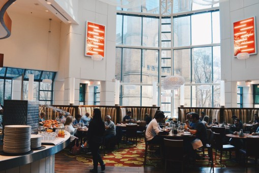 Huge breakfast room with a view of the Church of the Holy Trinity | Marriott Downtown Toronto Toronto Eaton Centre © Coupleofmen.com