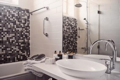 Stylish Bathroom at our prison hotel room | Katajanokka Hotel Helsinki Gay-friendly Review © Coupleofmen.com