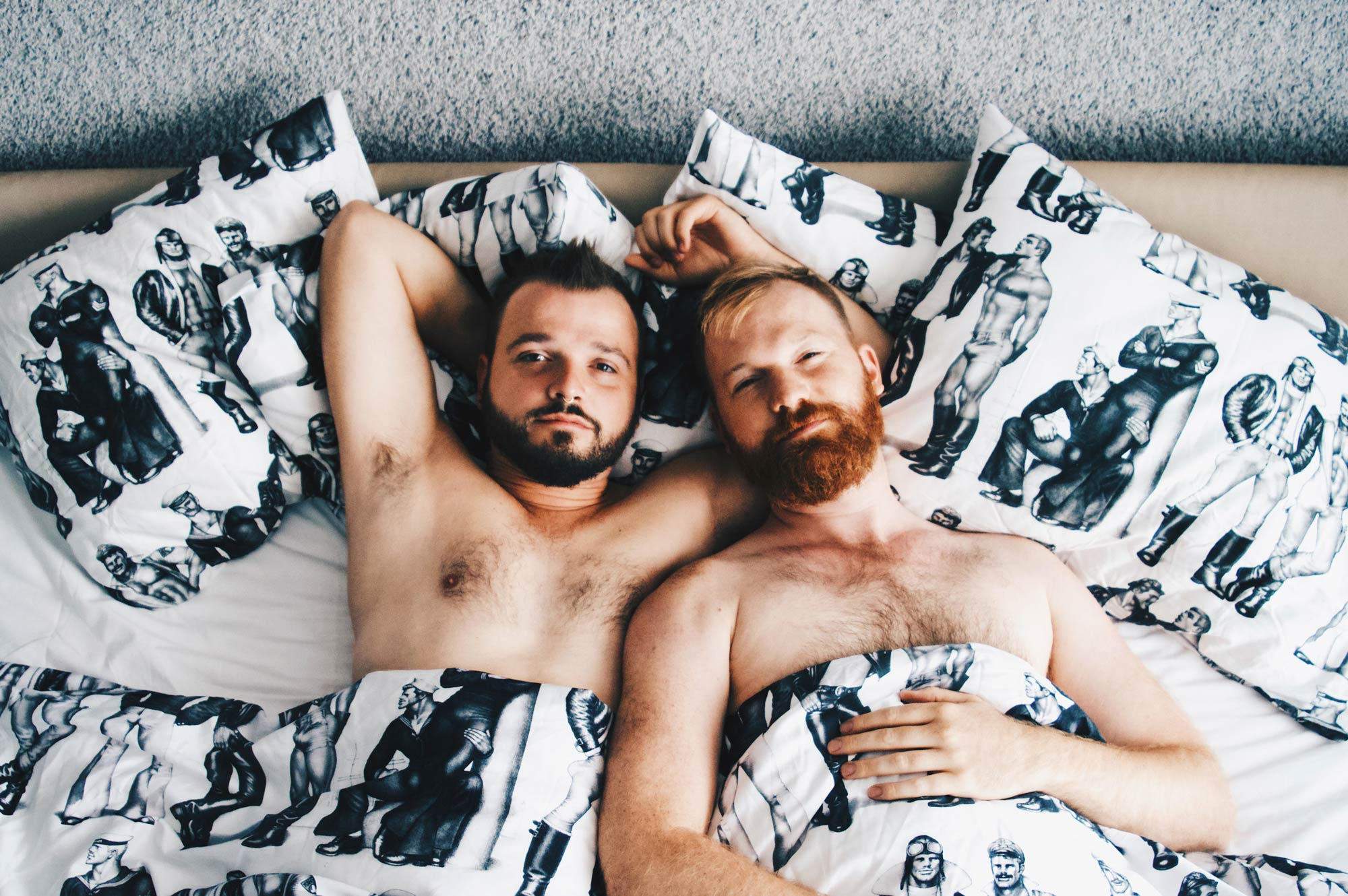 Tom of Finland Paket sexy naked couple of men Gay Travel Blogger half naked Good morning out of our Tom of Finland bed | Klaus K Hotel Helsinki Gay-friendly Tom of Finland Package © Coupleofmen.com