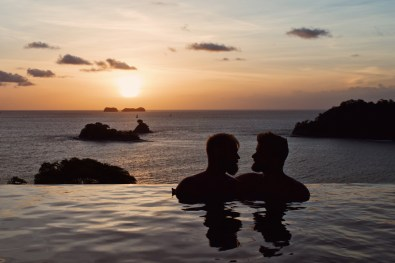 Gay Travel Journal Costa Rica Wow, what a sunset over the Pacific Ocean from our private villa at Casa Chameleon | Gay-friendly Costa Rica © Coupleofmen.com