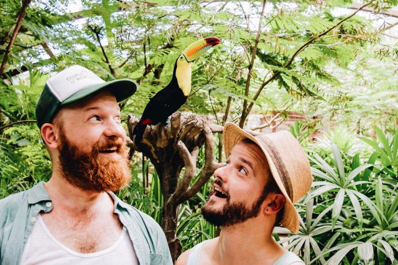 "Meeting beautiful Toucan ""Larry"" at Diamante Eco Adventure Park | Gay-friendly Costa Rica © Coupleofmen.com"