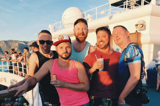 Selfie fun on deck with Josh Rimer and his boyfriend and our good friend Christian from Berlin | Gay Cruise by Open Sea Cruises x Axel © Coupleofmen.com