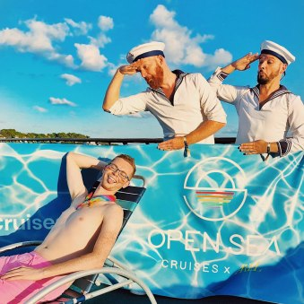 Photo fun with gay travel Blogger Ryan Woods | Gay Cruise by Open Sea Cruises x Axel © Coupleofmen.com