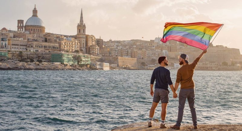 Spartacus Gay Travel Index 2019 Raising the Pride Flag in Valetta, Malta © Coupleofmen.com