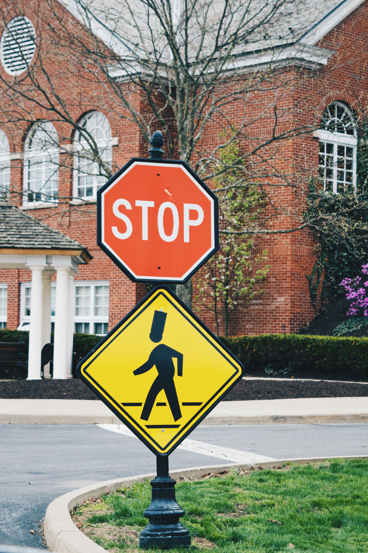 Captured: Attention while driving on the campus of the Culinary Institute of America - Cooks are everywhere! © Coupleofmen.com