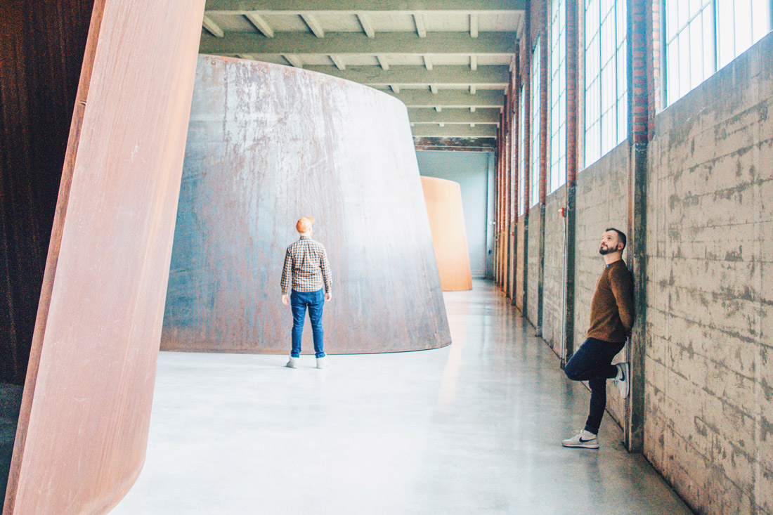 Gay Reise Dutchess County Highlight No2: The immersive sheets of steel by Richard Serra arising into the museum's space © Coupleofmen.com