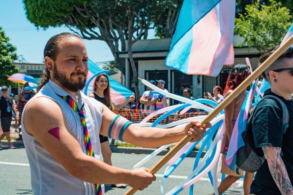 The 'T' in LGBTQ+ stands for Trans, a important part of our community visible with their pink-linght blu colored flags © Coupleofmen.com