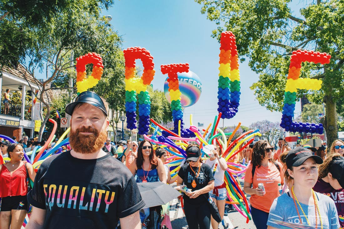 And look at this handsome ginger bearded man in front of the Pride sign (this caption was obviously written by Karl) ©Coupleofmen.com
