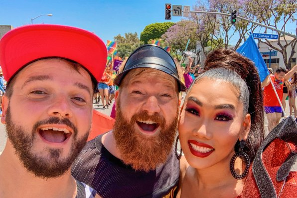 OMG! What a surprise - Proud and happy for this gay selfie with Gia Gunn, Drag Queen from RuPaul's Drag Race, during LA Pride West Hollywood © Coupleofmen.com