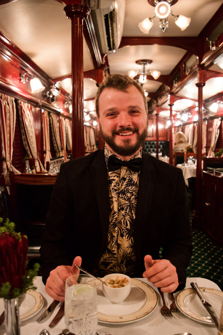 Enjoy your meal, Karl! Fancy dressed and ready for the 5-course dinner © Coupleofmen.com