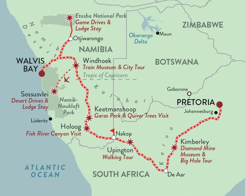 Zugreise Afrika Rovos Rail Namibia Safari Route Map © Rovos Rail