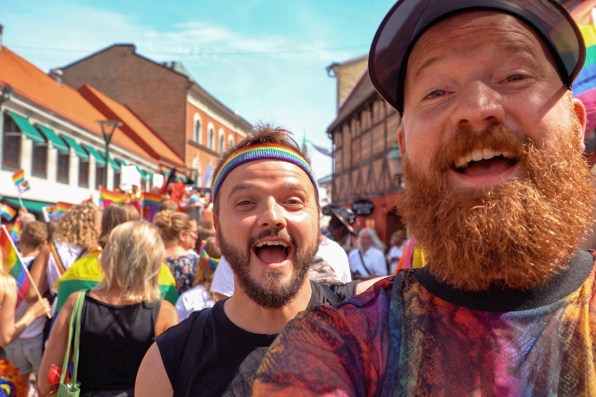 Gay Pride Malmö 2019 Selfie Moments during the Gay Pride Parade in the old town of Malmö © Coupleofmen.com