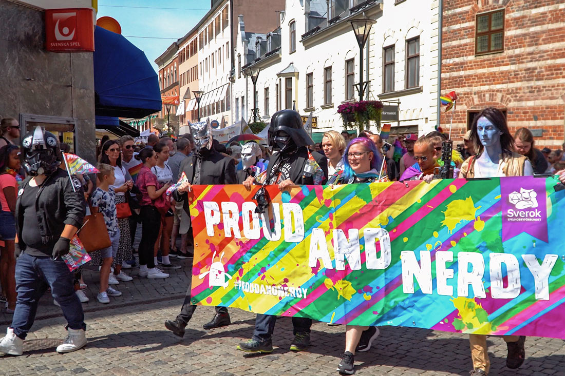 Gay Pride Malmö 2019 Proud and Nerdy Group proudly participating in Malmö Pride Parade 2019 © Coupleofmen.com