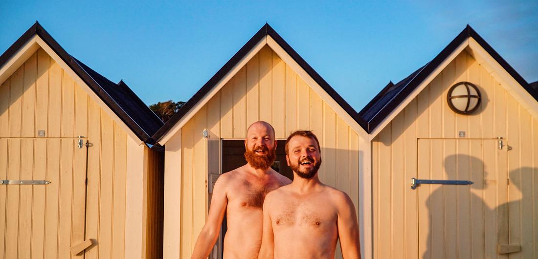 Gay Summer Road Trip Skåne Tadaaaa - Getting changed in this cute little Swedish cabins at the Swedish sauna Pålsjöbaden © Coupleofmen.com© Coupleofmen.com