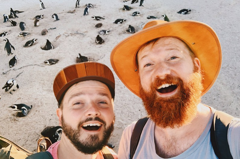 Penguin Selfie at Boulders Beach in Simons Town © Coupleofmen.com