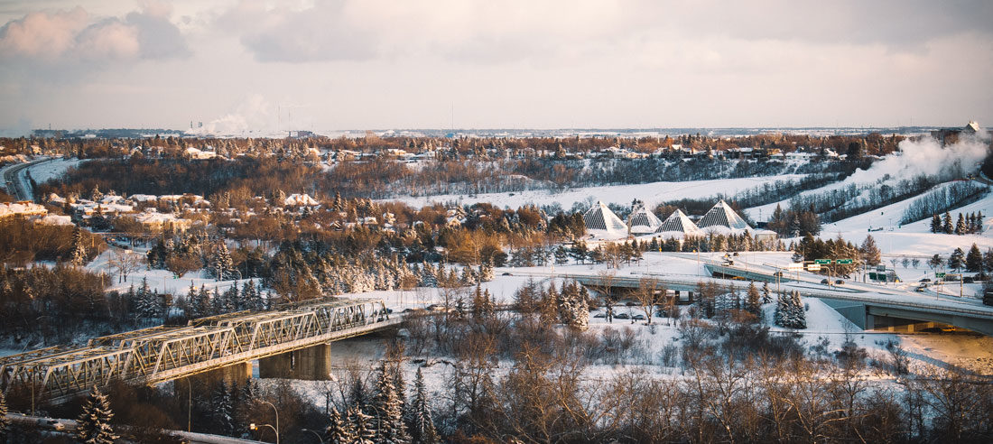 Winter sun in Edmonton, capital city of Alberta