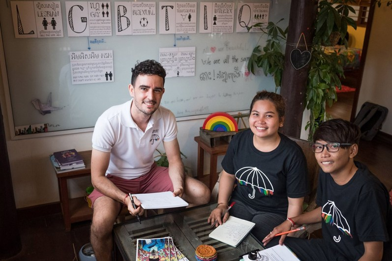 Gay in Cambodia Schwul in Kambodscha Jason and his team working on a more inclusive, diverse and LGBTQ+ friendly Cambodia © Café Krousar/ A Place To Be Yourself - Jason Argenta