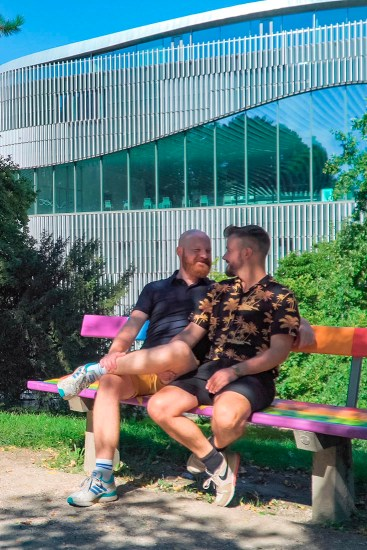 rediscover Gay Salzburg Sitting on the brand new rainbow bench in Salzburg © Coupleofmen.com