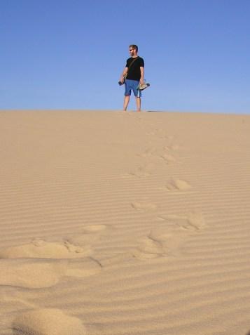 Jack atop a dune, Jeri, Brazil