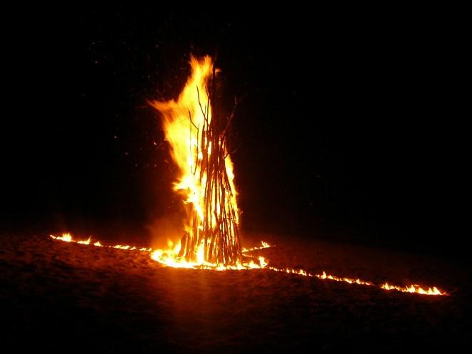 Bonfire on the beach, Nacula, Fiji