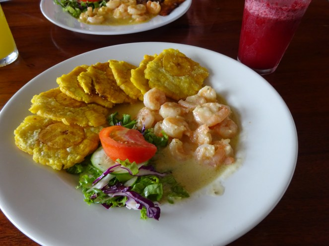 Curried prawns and fried plantains, Costa Rica