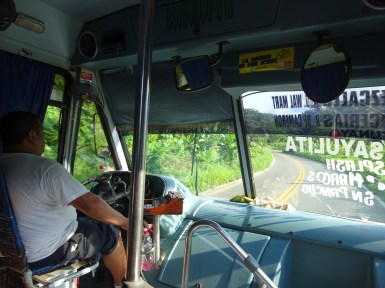 Local bus through the jungle-lined roads