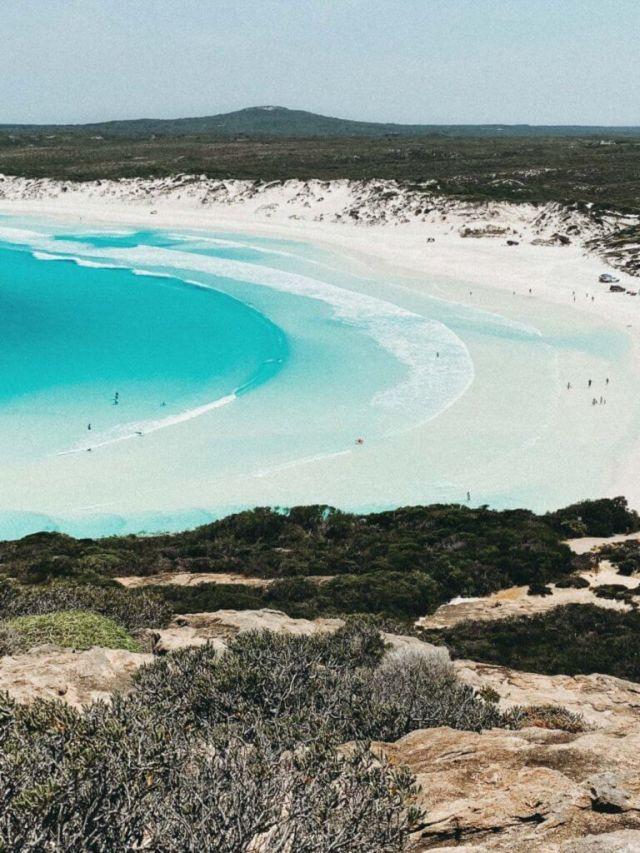 Couples coordonne esperance Australie occidentale vue au-dessus de la plage de Wharton