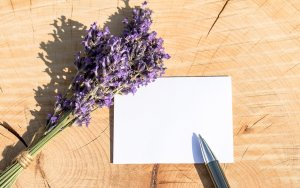 greeting card, thank you card, lavender